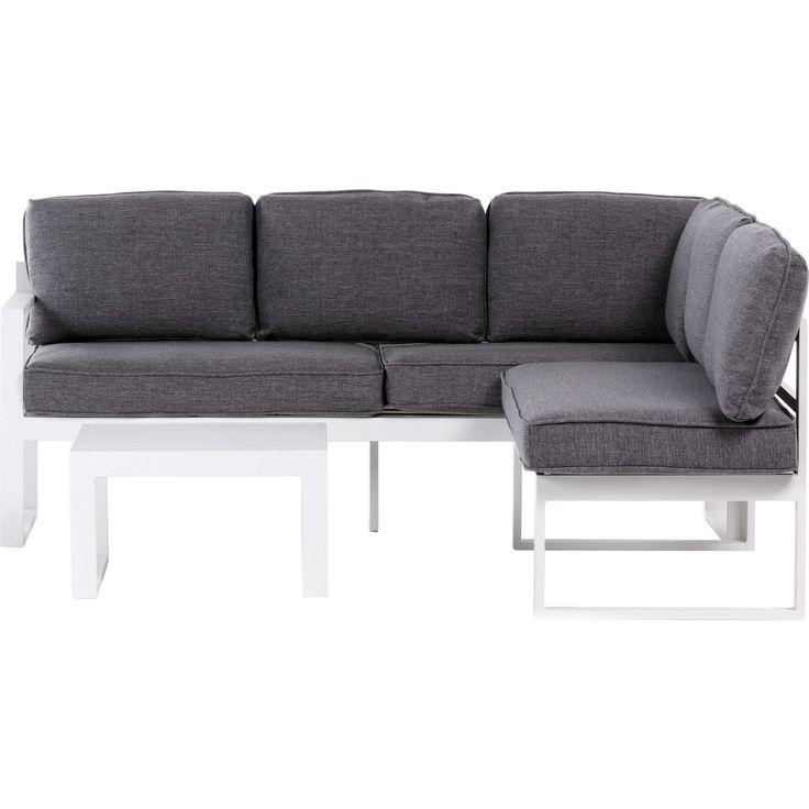 Alumiinikulmasohvaryhmä, jossa mukana 3-istuttava sohva, 2-istuttava sohva, pöytä ja harmaat pehmusteet. Kevyt ja kestävä  alumiinirunko kestää hyvin säänvaihtelua. Sohvaryhmä sopii hyvin sekä terassille että puutarhaan.
