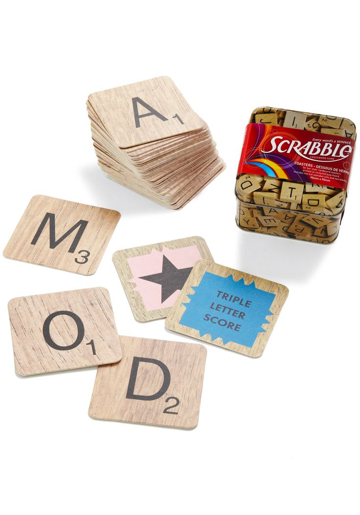 To the Letter Coaster Set: Gifts Ideas, Scrabble Coasters, Scrabble Tile, Coasters Sets, Letters Coasters, Tile Coasters, Vintage Kitchen, Retro Vintage, Scrabble Letters