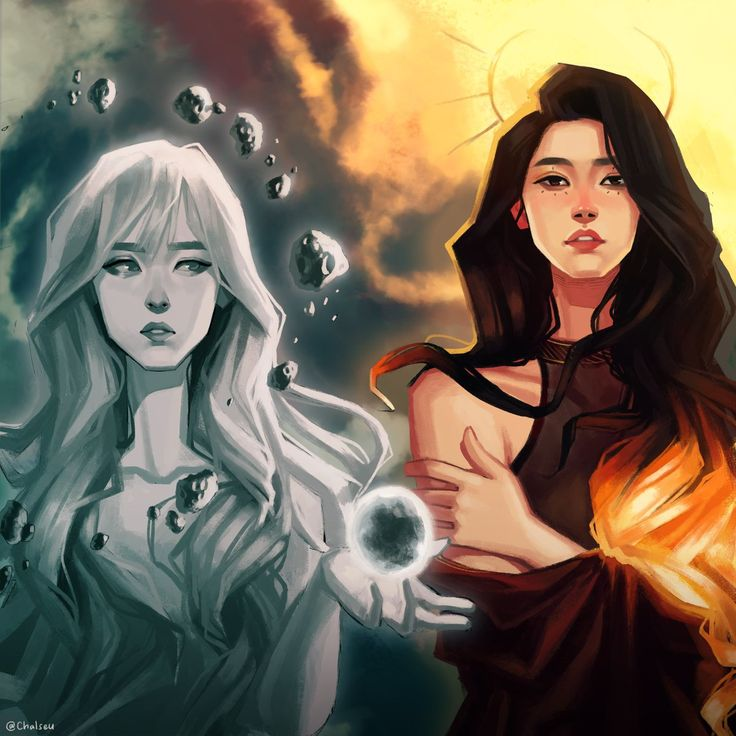 Fan art of Moonbyul (문별) and Solar (솔라) of MAMAMOO (마마무).    Credit goes to @chalseu.