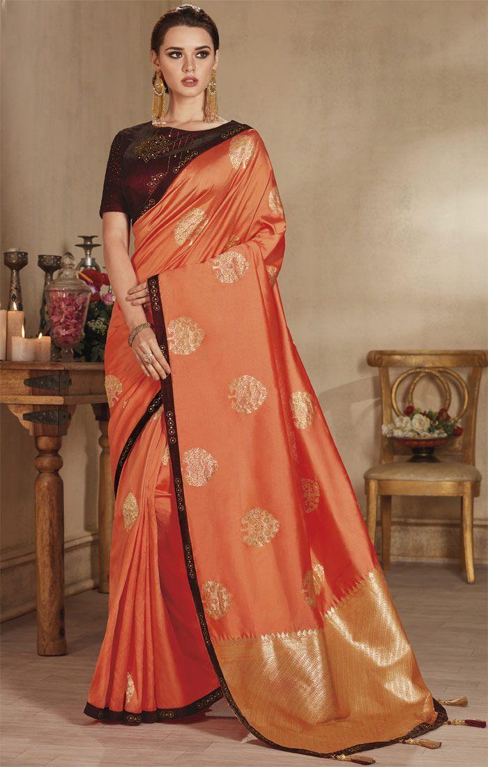 1c1dd0ba370c2c Orange Embroidered Saree Set With Jacquard Pallu N Contrast Edge in 2019 |  Party Wear Sarees | Silk sarees, Silk sarees online shopping, Saree