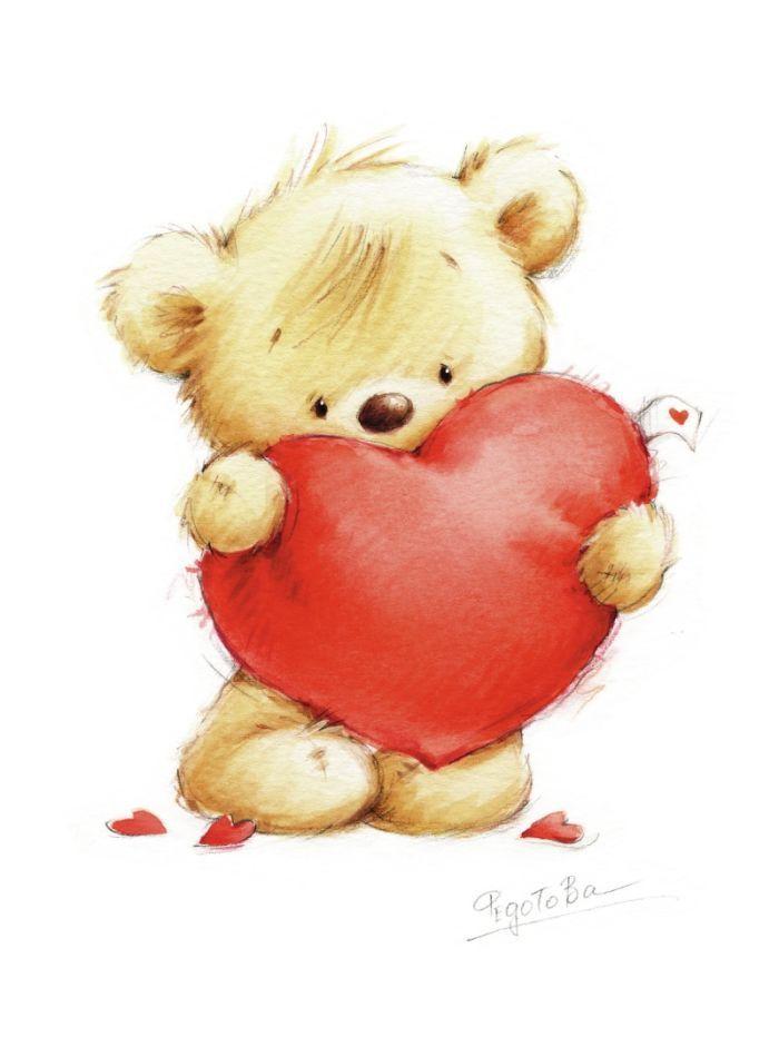 Картинки мультяшные мишки с сердечками