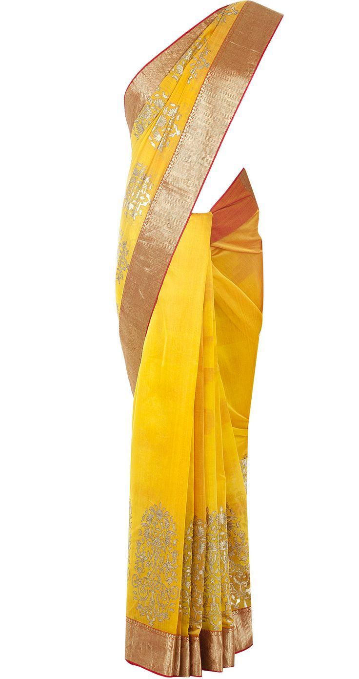 Yellow and red sari by ROHIT BAL. http://www.perniaspopupshop.com/designers-1/rohit-bal