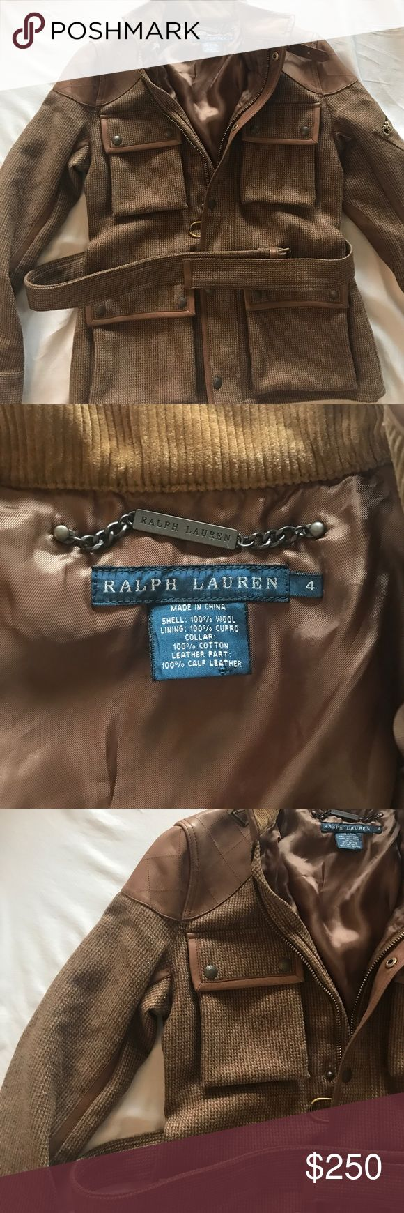 Ralph Lauren Polo Jacket  - calf leather + wool So chic! Never worn 100% Authentic Ralph Lauren Collection purchased in Beverly Hills polo jacket Ralph Lauren Jackets & Coats Utility Jackets