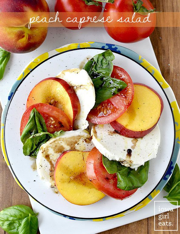 Peach Caprese Salad is a fresh, slightly sweet twist on the classic Caprese Salad. One of my favorite salad recipes of the summer! #glutenfree | iowagirleats.com