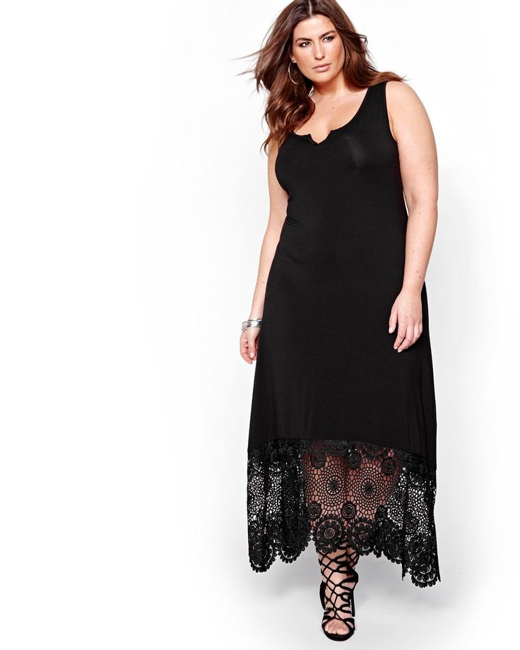 Effortlessly stunning and guaranteed to steal the spotlight! This plus size dress showcases curvy and slim silhouettes thanks to its flowing fit and maxi length. Wide straps, unlined, crochet lace at back and hem, 52 inch length, Michel Studio.
