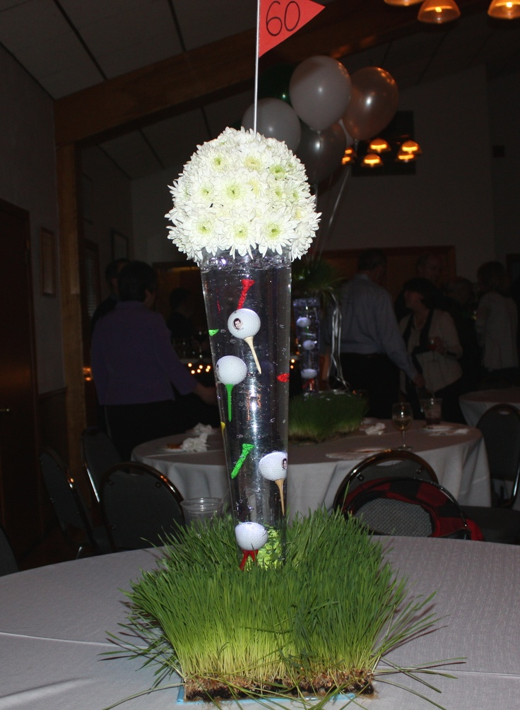 Centerpieces for golf party theme golf tournament ideas for Golf centerpiece ideas