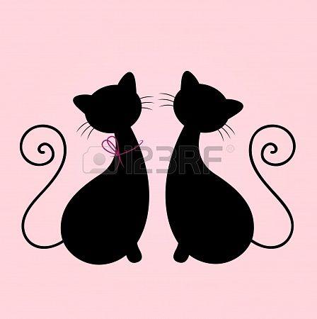 Chat mâle et femelle dans l'amour. Illustration Vecteur Banque d'images - 18075856