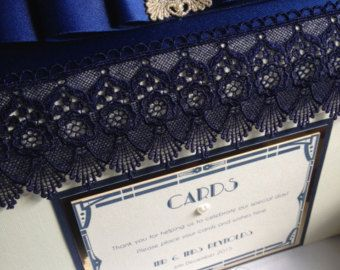 Navy Gatsby inspired Wedding Card Post box with either Silver or Gold trims and fully personalised with your own details. A stunning addition to your reception. Worldwide shipping #etsy