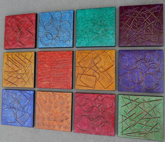 Large Wood Block Art  Modern Art  Abstract by PattyEvansArt, $288.00