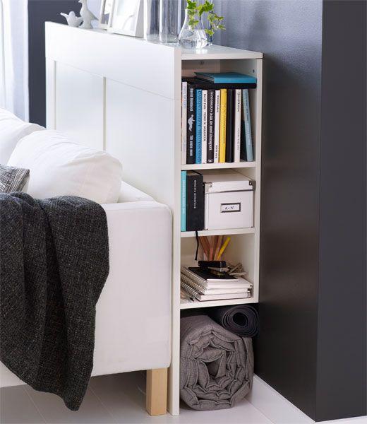 Alternatief nachtastje: Ikea BRIMNES, hoofdeinde met bergruimte wit