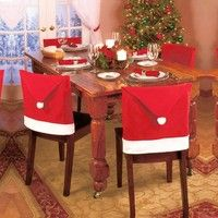 Wish | 1pcs Santa Red Hat Chair Covers Christmas Decorations Dinner Chair Xmas Cap Sets