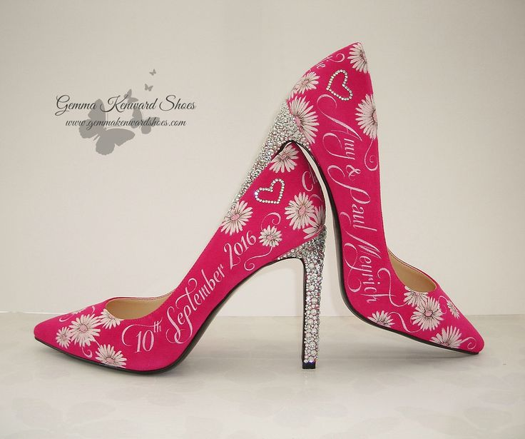 Hand Painted Wedding Shoes in pink with diamante heels / stems #pink #pinkshoes #paintedshoes #wedding #shoes #weddingshoes #bride #bridal #pinkbride