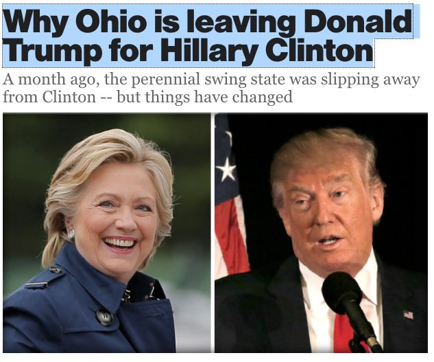 11 Oct. 2016: Why Ohio is leaving Donald Trump for Hillary Clinton / A Month ago, the perennial swing state was slipping away from Clinton -- but things have changed