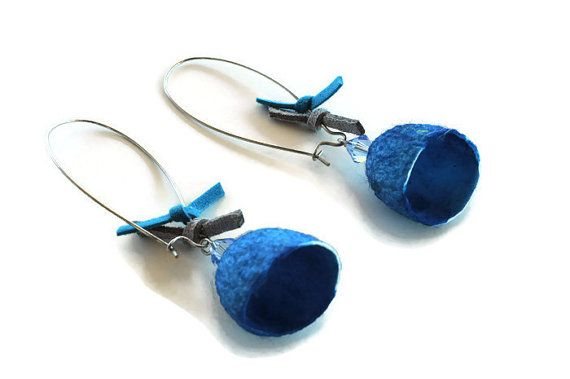 Blue Silk cocoon earrings, boho earrings, statement earrings, tassel earrings, boho earrings,silk earrings, dangle earrings, Christmas gifts