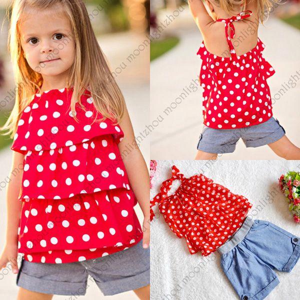 cute toddler girl clothes Baby girls sets chiffon Dot t shirt jeans denim Shorts pants vestido bebe roupa infantil para meninas