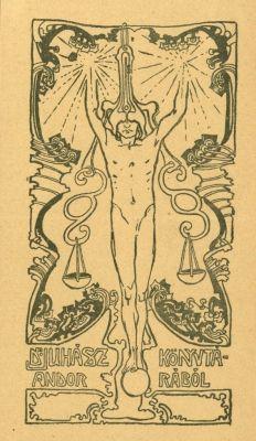 Bookplate by Sándor Nagy for Juhász Andor, 1913c.