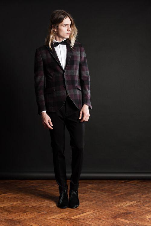 MAISON LVCHINO FW 14/15 Grey & Bordeaux Maxi Checks Jacket, Black Pants & Black Pony Boots