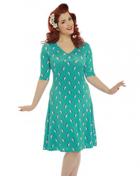 'Hillary' Turquoise Puffin Print Tea Dress - Animal Prints - Shop by Print - Dresses