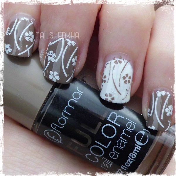 NAIL ART BROWN AND WHITE http://nailenkha.blogspot.com.es/2016/03/nail-art-brown-and-white.html #bornprettystore #bornpretty #bps #flormar #white #brown #stamping #flower #nails #notd #manicure #nailart #polish #nailspolish #nailartadict #cutepolish #cool #fashion #nailideas #manicura #esmalte #uñas #unhas #blog #blogguer #blogasturias #bloggerasturias #beauty #beautyblog