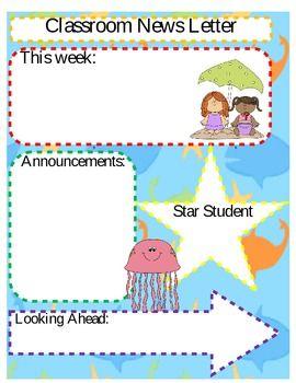 BEACH / OCEAN THEME CLASSROOM NEWS LETTER *EDITABLE* - TeachersPayTeachers.com