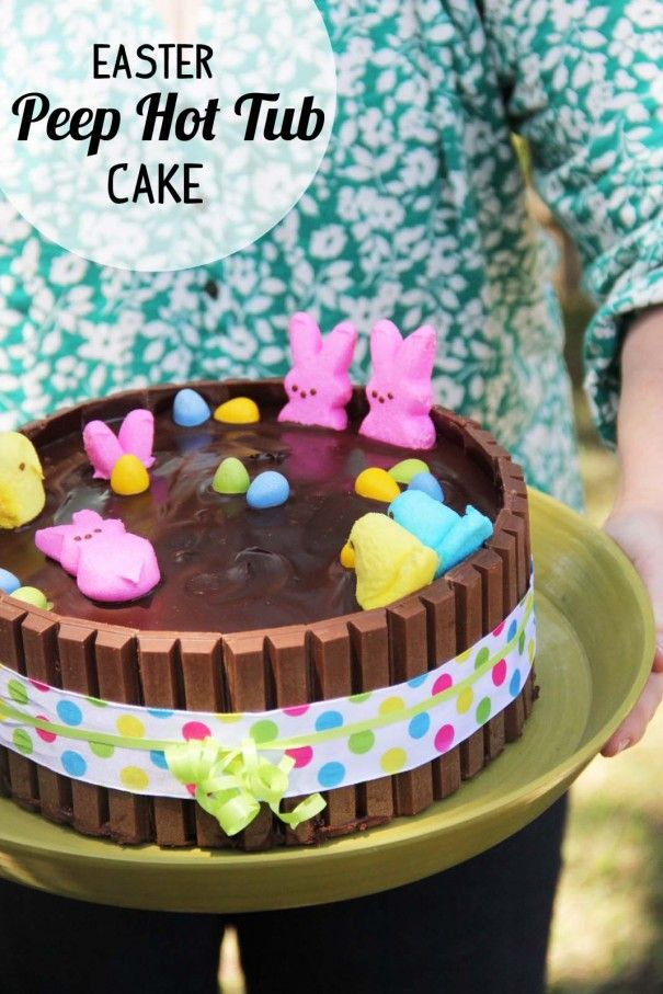 easter peep hot tub cake