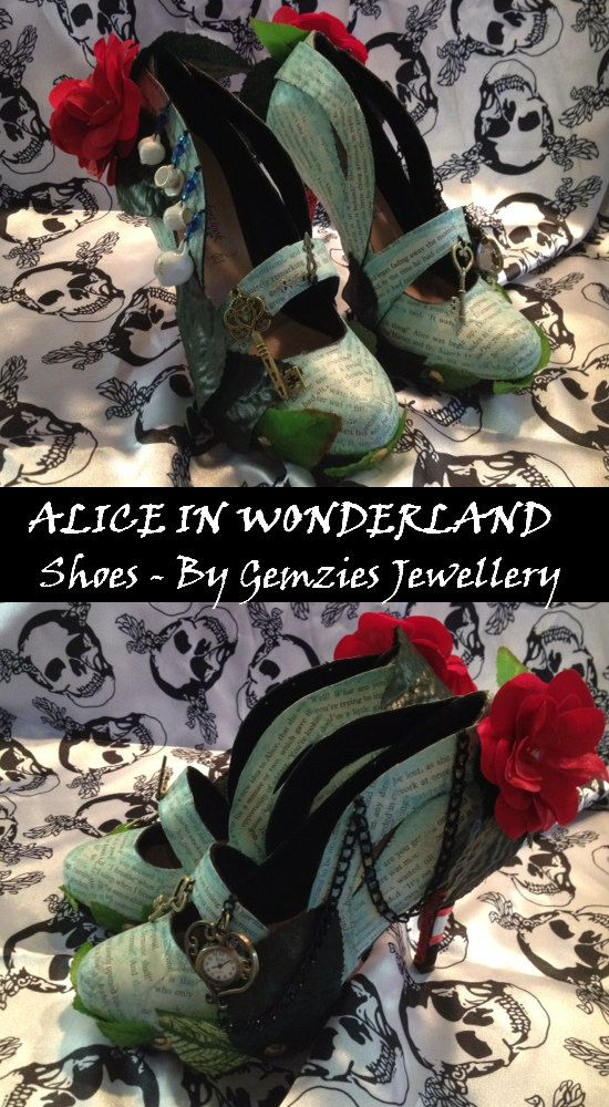"""I made these Alice in wonderland shoes from some plain black pumps, Tutorial to follow soon! Complete with working """"Rabbits Clock""""and mad hatters tea party."""