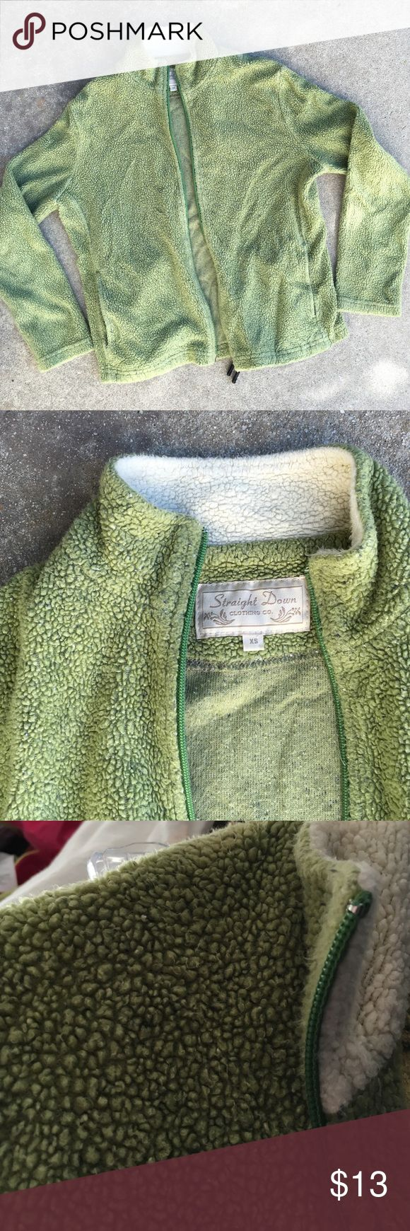 green zip up jacket Green jacket with white collar. Two front pockets. Size XSMALL Jackets & Coats