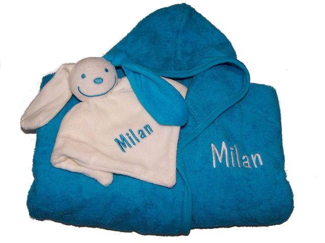 Kinderbadjas & tutpoppetje geborduurd met naam - borduren - naamkado - kraamkado -PersoonLEUK
