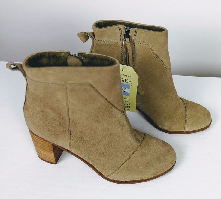 Toms Womans Ankle Boot Size 6.5 M Suede Beige Side Zip 3 in Heel New Tags #Toms #AnkleBoots