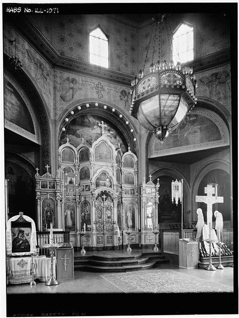 5.  Historic American Buildings Survey Harold Allen, Photographer 19 June 1965 ICONOSTASIS AND CHANDELIER - Holy Trinity Russian & Greek Orthodox Church, 1121 North Leavitt Street, Chicago, Cook County, IL