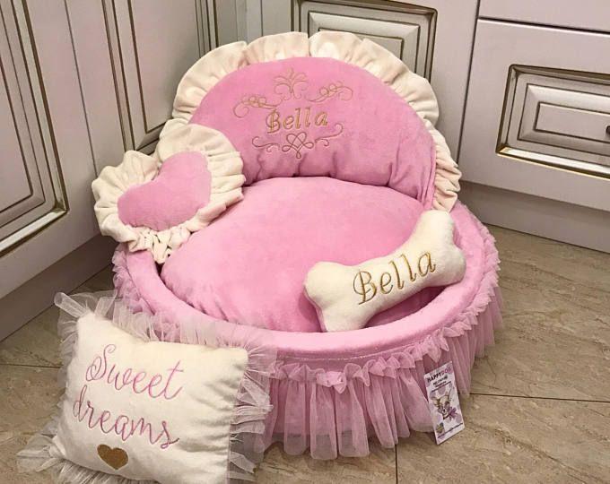 Bebé rosado y marfil cama de la princesa personalizado perro cama con falda de tul diseño mascotas cama gato cama rosa cachorro de perro mediano o pequeño
