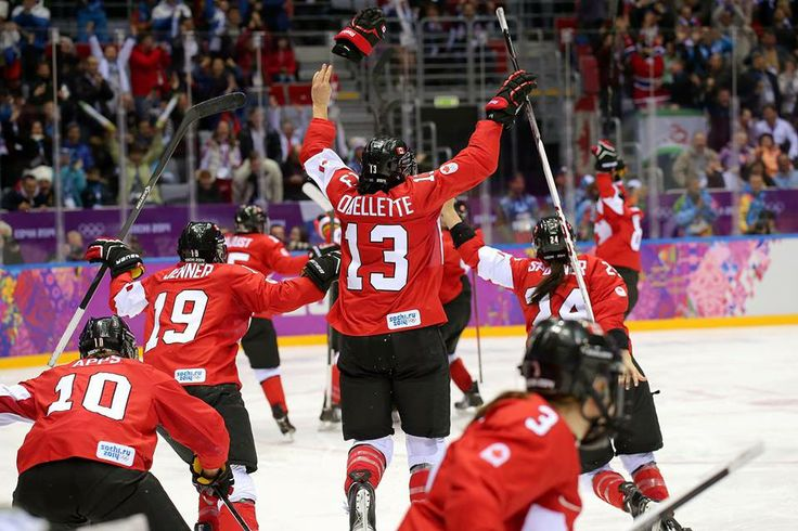 Celebrating!!!    Team Canada wins Gold Sochi 2014  (photo from CBC Olympics)
