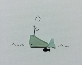 Sea glass and pebble art by sharon nowlan 8 by 10 whale and friend