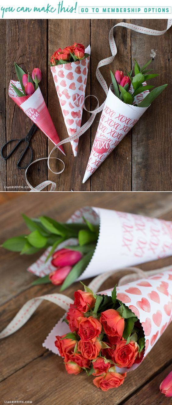 Spread the love with these DIY printable cones for Valentine's Day flowers - Lia Griffith - www.liagriffith.com #paper #paperart #paperlove #valentinesday #diyvalentinesday #valentines #flowers #diyflowers #diyinspiration #printables #printable #madewithlia