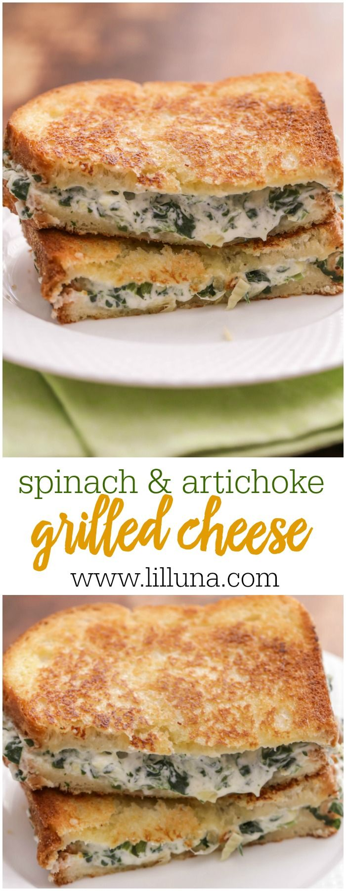 Bring one of your favorite appetizers to lunch or dinner with these Spinach and Artichoke Grilled Cheese Sandwiches. They are so cheesy and delicious!