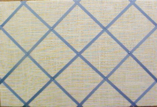 fabric cork bulletin boards ivory burlap with french blue crisscross message ribbons 16 x 24 5094 or your choice of over 1000 fabrics or - Decorative Bulletin Boards