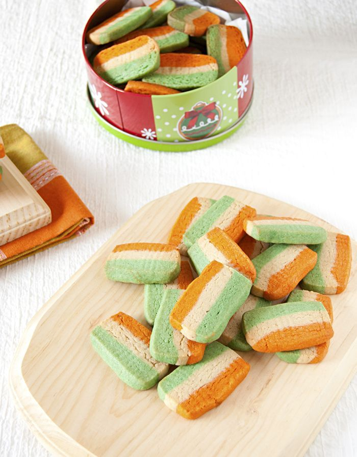 Tiranga (tricolor) cookies to celebrate Indian Republic day
