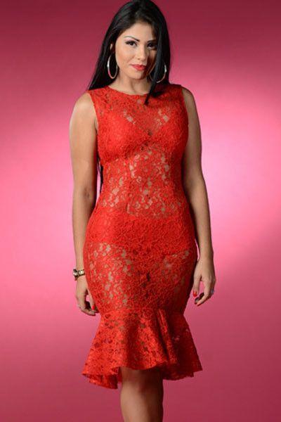 Chicloth Red Romance Lace Midi Dress