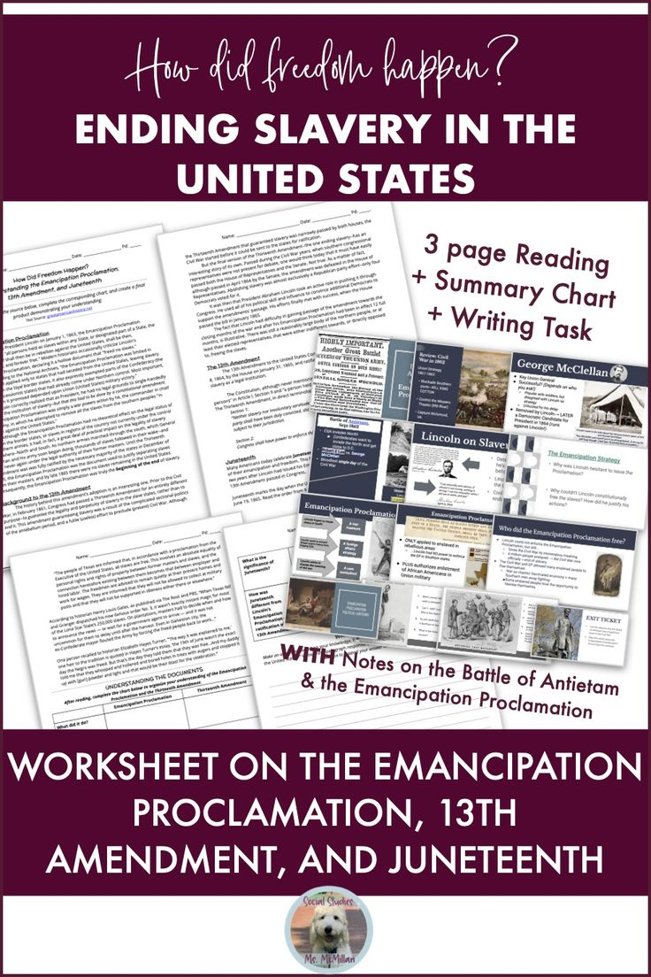 Students read about the Emancipation Proclamation, 13th