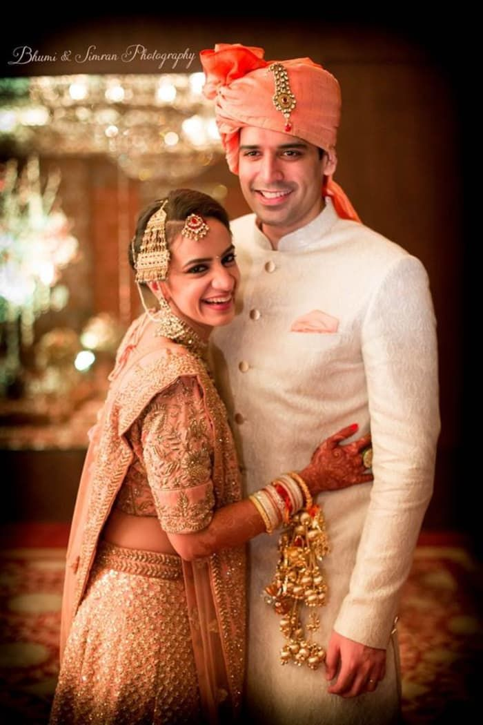 Photographer - The Perfect Soulmates! Photos, Hindu Culture, Beige Color, Bridal Makeup, Groom Sherwani, Designer Groom Wear pictures, images, vendor credits - Kundan Mehandi Art, Taj Palace, Bhumi and Simran Photography, Makeup By Simran Kalra, Shweta Poddar Photography, Anoo Flower Jewellery, WeddingPlz