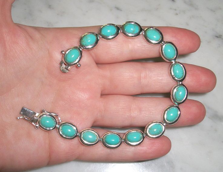 "Vintage Signed FAS 925 Sterling Silver Tennis Bracelet,faux turquoise,not scrap,7.5"",safety latch by PhoenixAndFoxShop on Etsy"