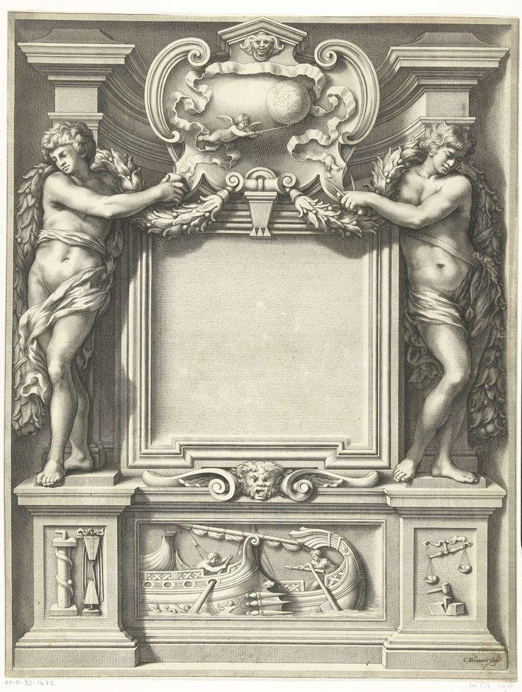Cornelis Bloemaert (II) | Titelpagina met twee naakte jongen met wetenschappelijke instrumenten, Cornelis Bloemaert (II), 1633 - 1692 | Allegorie op de wetenschap. Twee naakte jongen staan op een voetstuk en houden wetenschappelijke instrumenten vast. Op het voetstuk staan weeg- en meetinstrumenten afgebeeld. Het midden van het voetstuk wordt gevormd door een reliëf met een wedstrijd tussen twee roeiers. De tafel voor de titel is vrijgelaten.