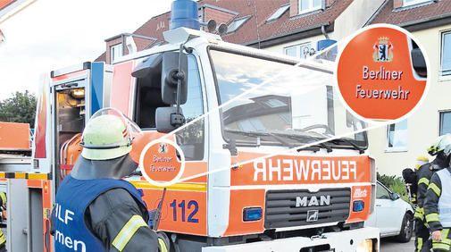 Feuerwehr hat Leihfahrzeug aus Berlin  (WAZ online, 4.7.2013): Bildunterschrift: Leihgabe aus der Hauptstadt: Die Freiwillige Feuerwehr Fallersleben nutzt zurzeit ein Drehleiterfahrzeug aus Berlin. Das alte Fahrzeug ist defekt, ein neues wird demnächst angeschafft. Foto: © Sebastian Bisch
