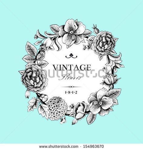 Beautiful card with a round wreath of different flowers of vintage