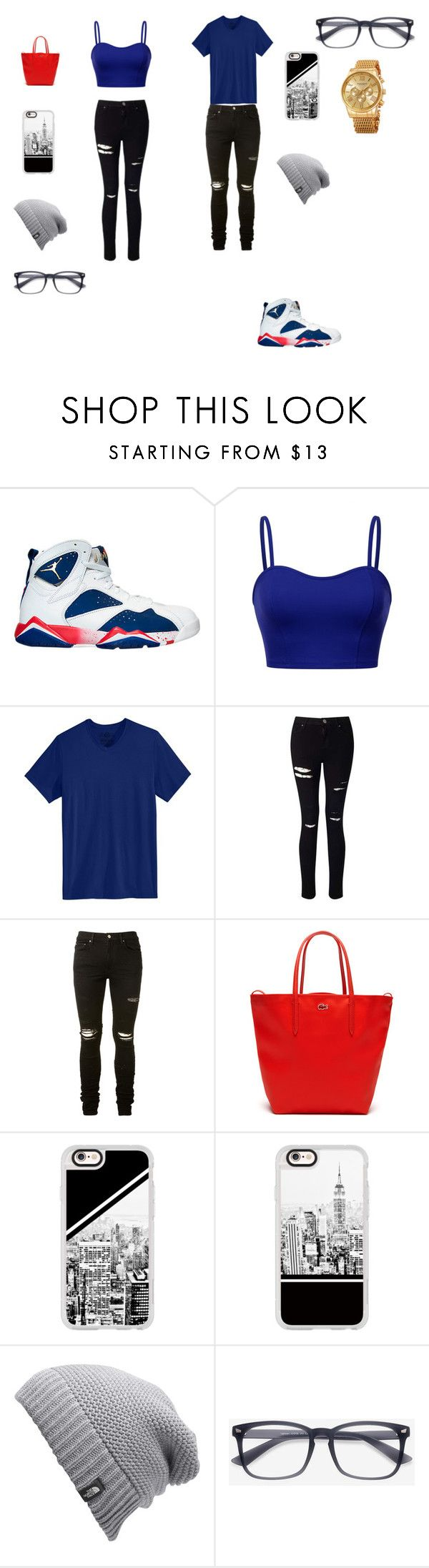 """bf and gf matching jordan outfit by:Emily styles"" by kimrlanier on Polyvore featuring NIKE, American Rag Cie, Miss Selfridge, AMIRI, Lacoste, Casetify, The North Face and Akribos XXIV"