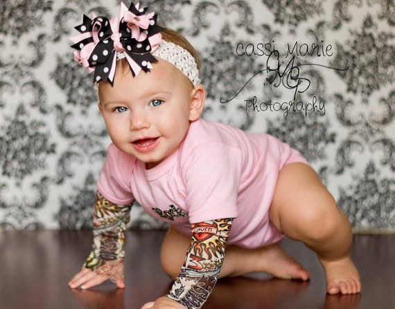 Build your own Tattoo Sleeve Onesie--onesie/tshirt with rock applique, you pick the sleeves #precious