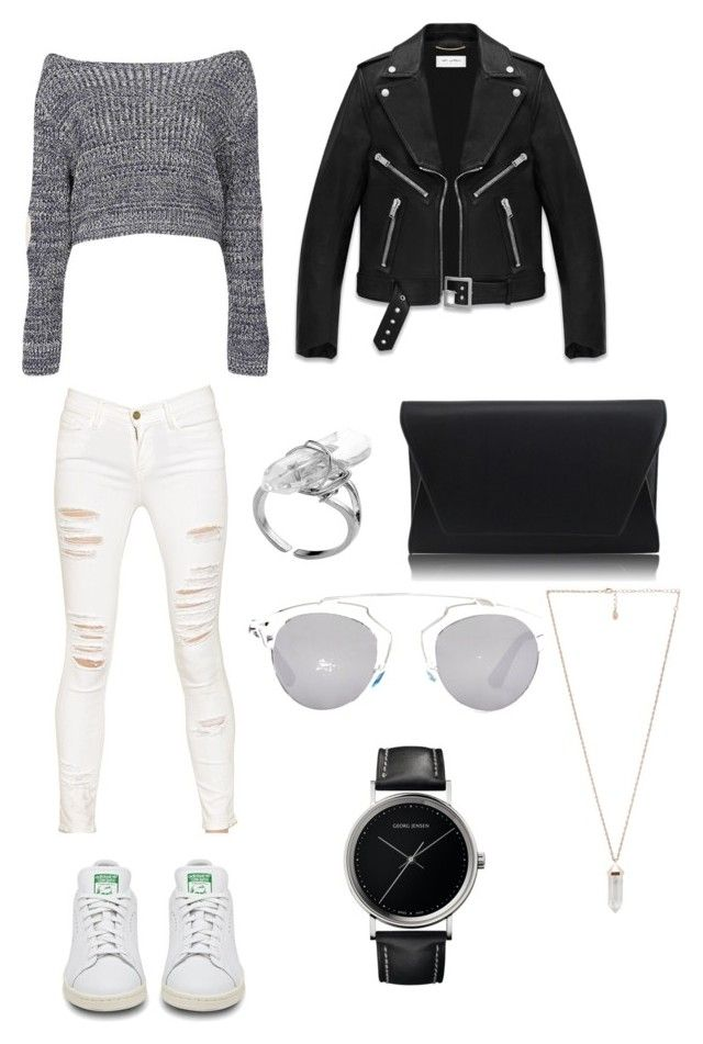 Outfit #7 by dianatairum on Polyvore featuring Boohoo, Yves Saint Laurent, Frame Denim, adidas, Amber Sceats, Georg Jensen and Christian Dior