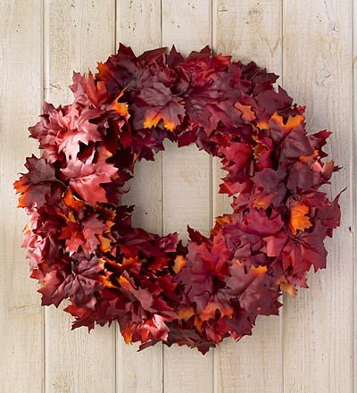 Plow and Hearth Red Maple Leaf Wreath