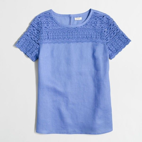 J.Crew Factory linen lace t-shirt ($55) ❤ liked on Polyvore featuring tops, t-shirts, linen t shirt, keyhole top, blue lace top, lace top and lace keyhole top