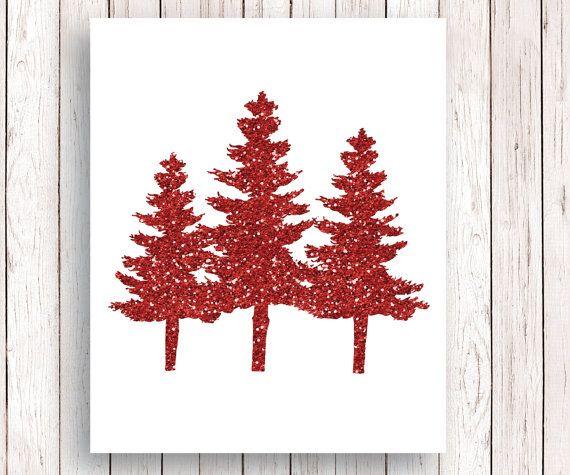 Albero di Natale Glitter rosso Art Print, rosso Glitter albero di Natale, Glitter Natale segno, vacanza Art Print, Natale alberi di pino, 8 x 10